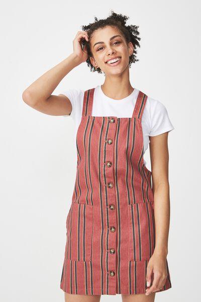 Denim Button Through Dress, ROSEWOOD STRIPE