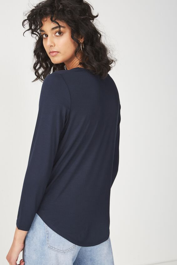 Kathleen Long Sleeve Top, MOONLIGHT