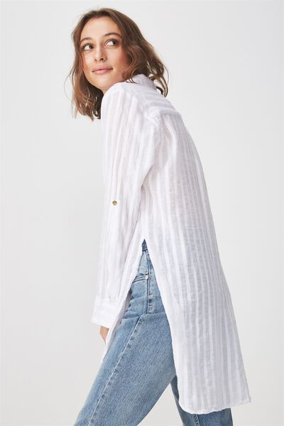 Longline Fashion Shirt, WHITE TEXTURE STRIPE
