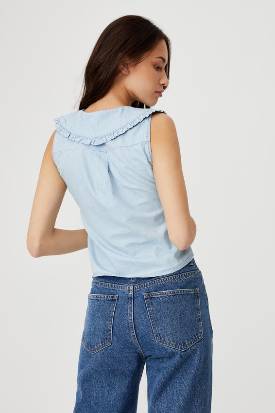 Petite Wildflower Stand Out Collar S/Less Blouse, LIGHT CHAMBRAY BLUE