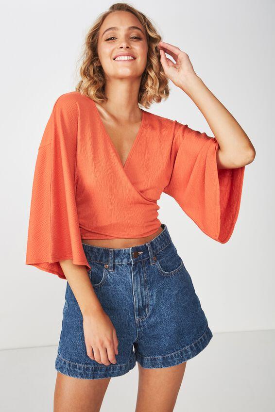 Jude Kimono Sleeve Top, BURNT OCHRE TEXTURE