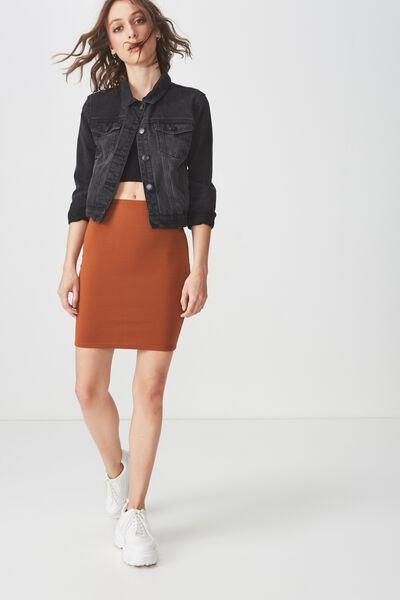 Tiana Mini Tube Skirt, UMBER BROWN