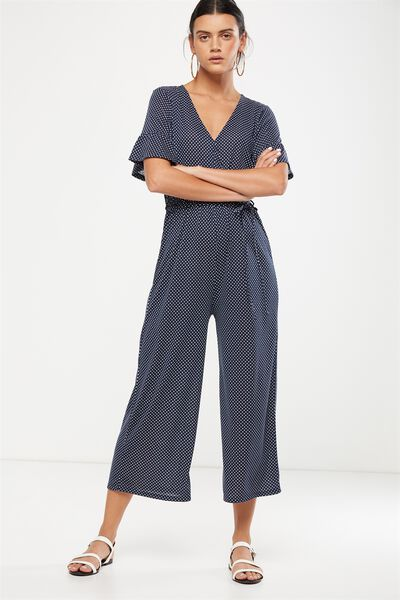 Josie Short Sleeve Jumpsuit, KARLA SPOT TOTAL ECLIPSE