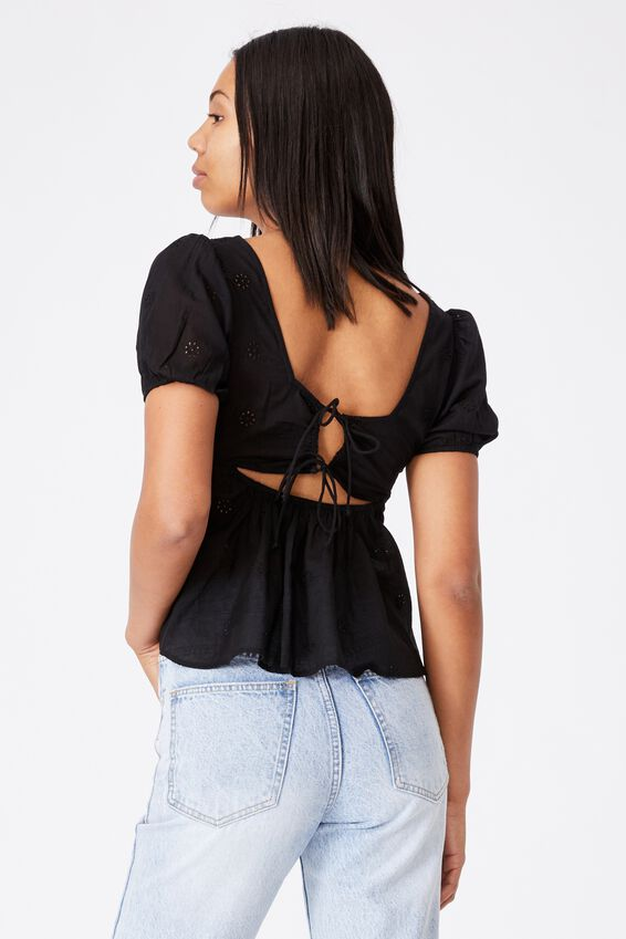 Maggie Tie Back Babydoll Blouse, BLACK