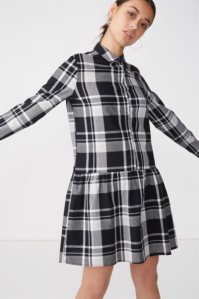Woven Tammy Long Sleeve Shirt Dress, FRILL HEM SALLY CHECK BLACK