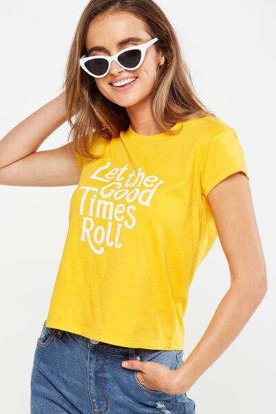 Tbar Friends Graphic Tee, LET THE GOOD TIMES ROLL/SUNFLOWER