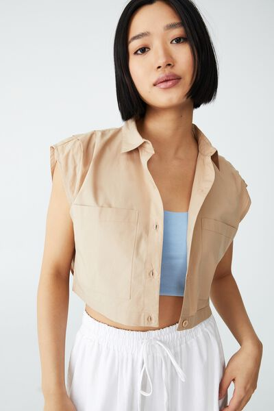 Petite Sunset Cropped Shirt, LINEN TAUPE