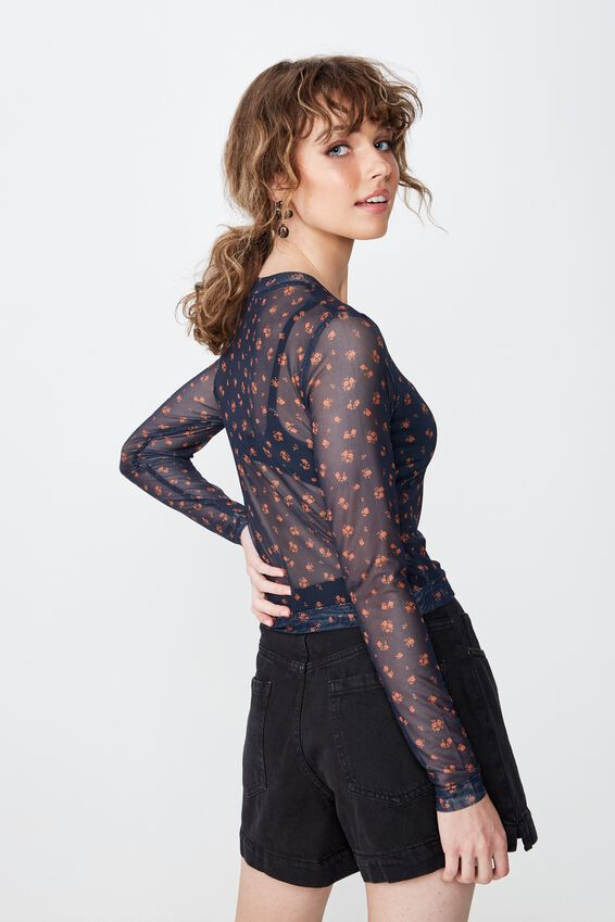 Mesh Long Sleeve Top, AMY DITSY AUTUMNAL
