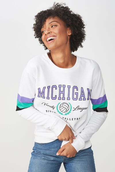 Ferguson Graphic Crew Sweater, MICHIGAN VARSITY LEAGUE/WHITE