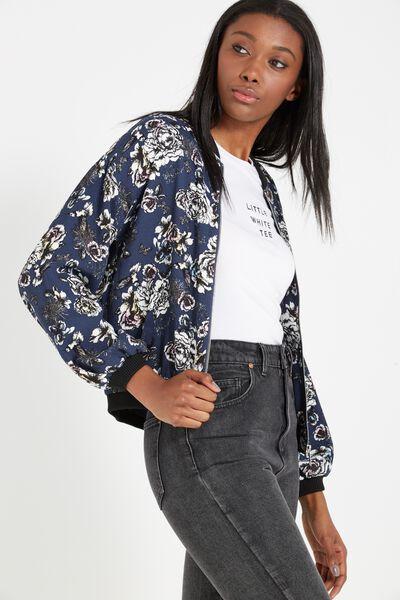 Candice Crepe Bomber Printed Jacket, HERITAGE GARDEN MOOD INDIGO
