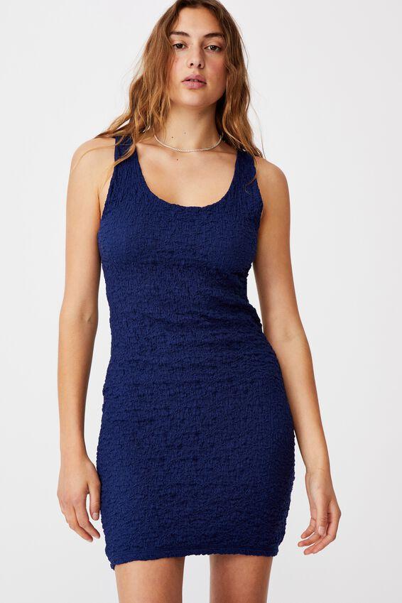River Textured Mini Dress, NAVY
