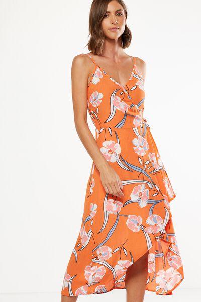 Woven Lucia Strappy Wrap Midi Dress, AMELIA FLORAL FLAMINGO