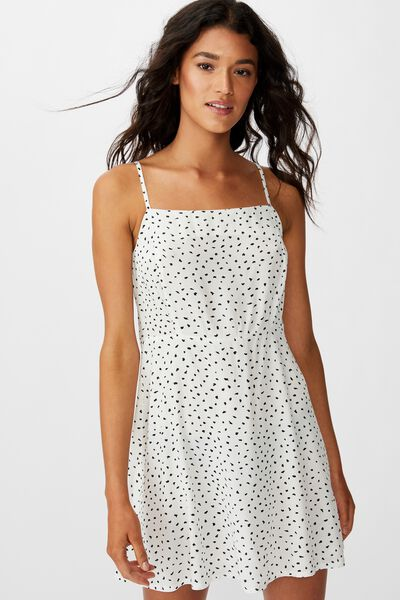 Woven Kendall Mini Dress, NADIA SPOT CANNOLI CREAM