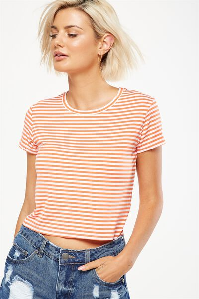 The Baby Tee, BEKA STRIPE WHITE/EMBERGLOW