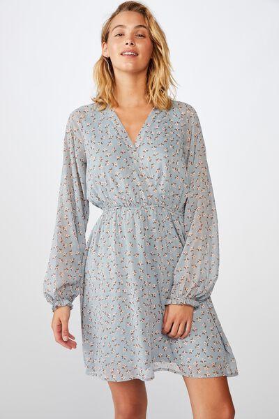 Woven Emma Long Sleeve Mini Dress, AIDAN DITSY CELESTIAL BLUE