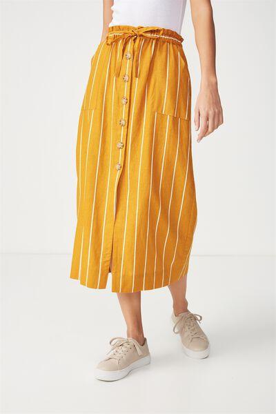 Woven Molly Button Through Midi Skirt, SAXXY STRIPE INCA GOLD