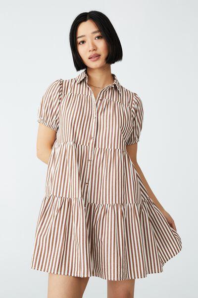 Woven Petite Nikki Mini Shirt Dress, HAYLEY STRIPE LEAF BROWN