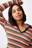 Long Sleeve Knit Rib Polo, FRANKIE STRIPE RED