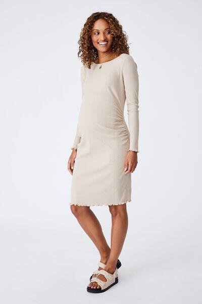 Maternity Rib Lettuce Edge Long Sleeve Dress, LATTE