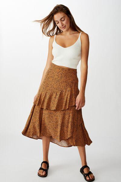 Eve Frill Midi Skirt, NATALIE SPOT LION