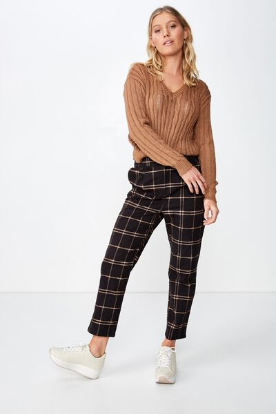 Ava Tapered Pant, KARLA CHECK STRETCH LIMO