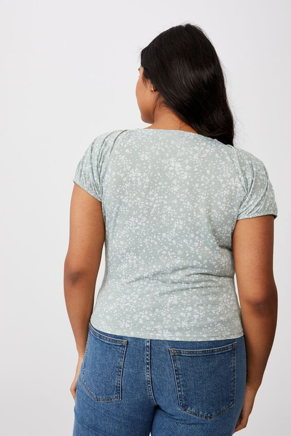 Curve Sally Sweetheart Short Sleeve Top, PENNY DITSY LUSH GREEN