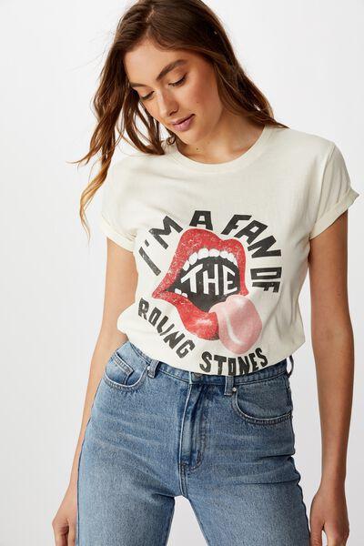 Classic Rolling Stones T Shirt, LCN BR ROLLING STONES FAN/GARDENIA