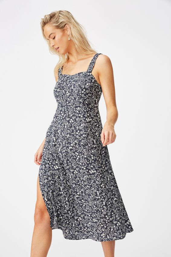 Woven Melanie Midi Slip Dress, BLAIR FLORAL PAISLEY TOTAL ECLIPSE
