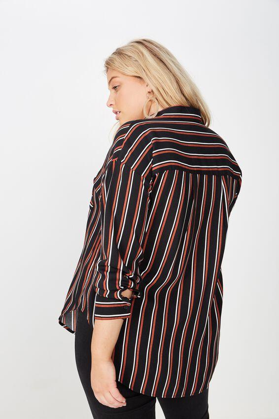 Curve Relaxed Shirt, DARIA STRIPE BLACK ARABIAN SPICE