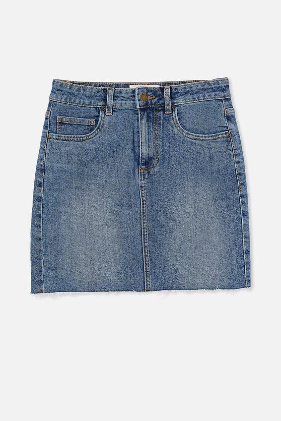 Classic Stretch Denim Mini Skirt, LUCKY BLUE