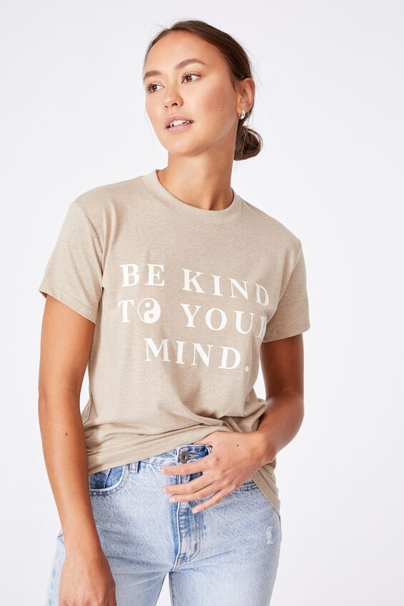 Classic Slogan T Shirt, BE KIND/VINTAGE TAUPE