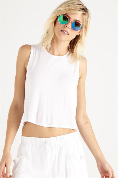 Madison Hip Grazer Tank Top, WHITE