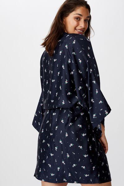 Curve Satin Kimono Gown, SPRIGGY FLORAL NAVY