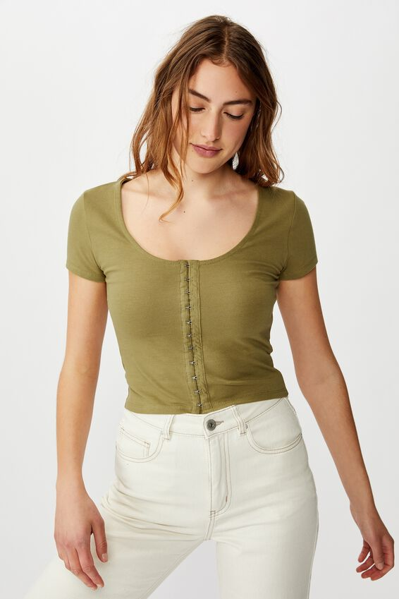 Bethany Short Sleeve Scoop Tee, DRIED HERB
