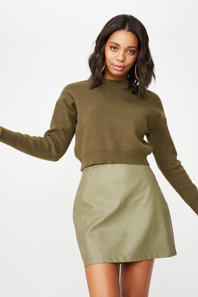 Woven Sasha Pu Mini Skirt, BURNT OLIVE