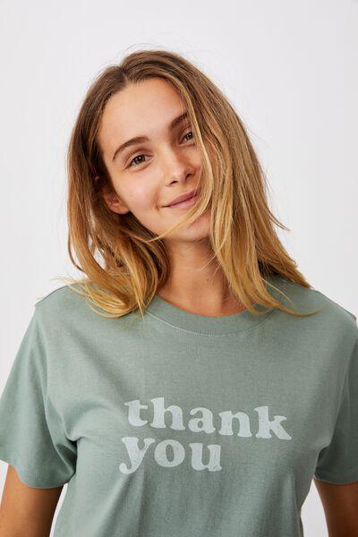 Classic Slogan T Shirt, THANK YOU/FALL GREEN