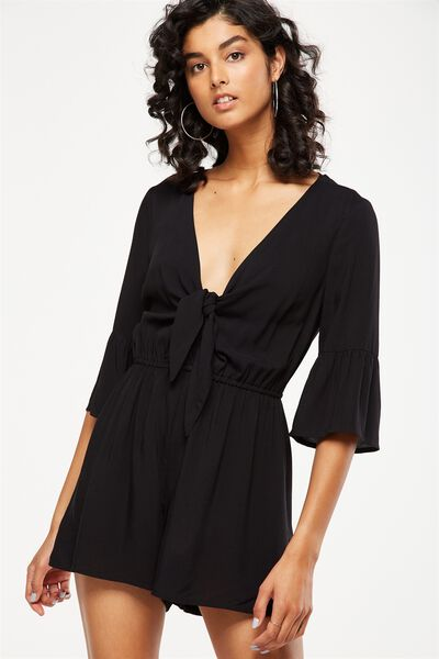 woven anissa 3/4 sleeve knot front romper, BLACK