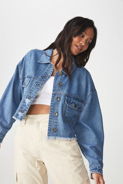 Cropped Batwing Denim Jacket, WASHED BLUE