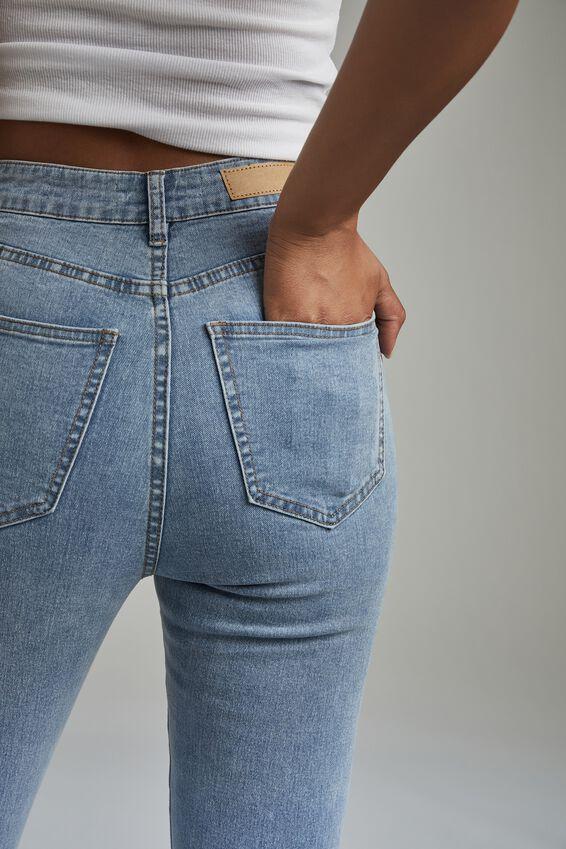 High Rise Cropped Skinny Jean, FLYNN BLUE RIP