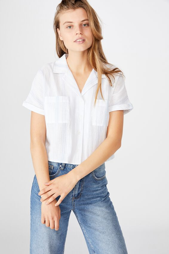 Erin Short Sleeve Shirt, SIENNA STRIPE CHAMBRAY BLUE