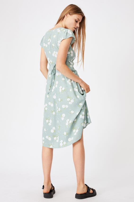 Woven Cleo Tie Back Midi Dress, GEORGIA DAISY LUSH GREEN