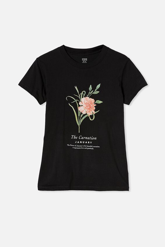 Classic Birthday Flower Graphic T Shirt, JANUARY BIRTHFLOWER/BLACK