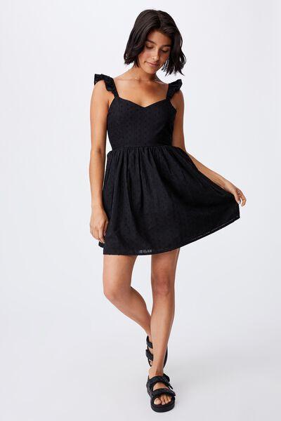 Woven Petite Erin Frill Sleeve Tie Back Mini Dress, BLACK