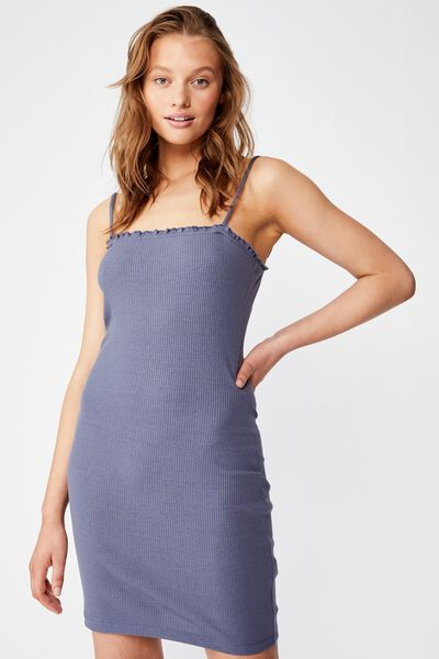 Raegan Strappy Rib Mini Dress, GRISAILLE RIB