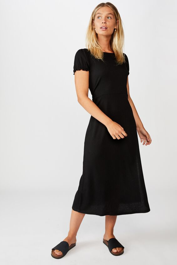 Mackayla Midi Dress, BLACK