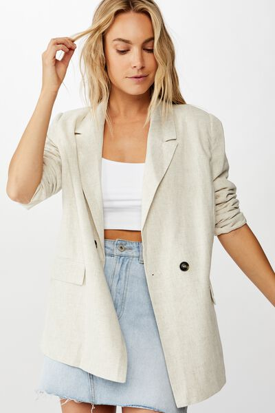 All Day Textured Blazer, NATURAL FLECK