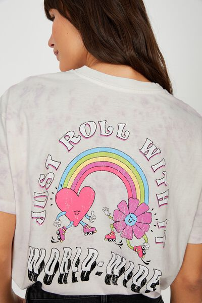 The Relaxed Boyfriend Graphic Tee, JUST ROLL WITH IT/TIE DYE