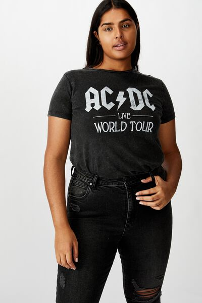 Curve Graphic Licence Fitted Tee, LCN PER ACDC WORLD TOUR/BLACK