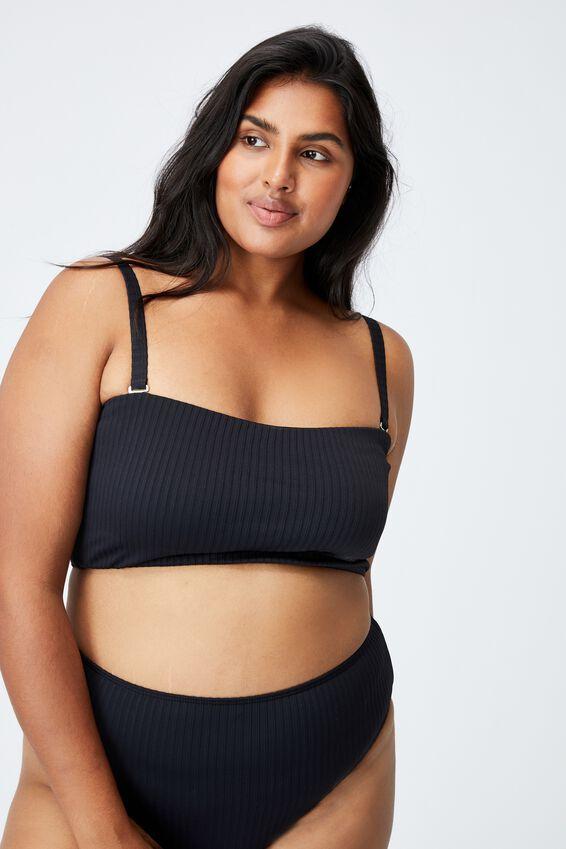 Curve High Waisted Full Bikini Bottom, BLACK RIB TEXTURE