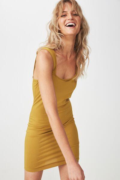 Peyton Square Neck Bodycon Mini Dress, AMBER GREEN
